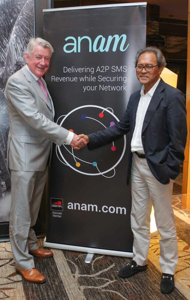 Noel Kelly, Anam CEO with Tan Sri Mohd Razali Abdul Rahman at the Anam Asia reception in Kuala Lumpur on February 15