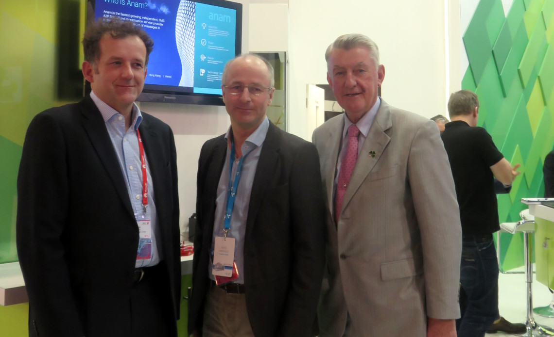 Pictured today 22/2 at Mobile World Congress L to R - Clive Steady, Director of Sales Anam Technologies; Kjetil Hanshus, Vice President, IPX & Interconnect Solutions Telenor, Noel Kelly, CEO Anam Technologies.